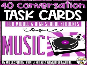 Conversation Starter Cards | Music | Social Skills for Middle&High