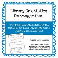 Customizable Library Orientation Scavenger Hunt **No Prep Work Required**