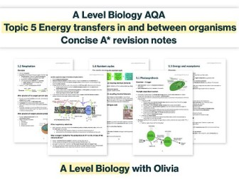 CONCISE A* photosynthesis, respiration, energy & nutrient cycles notes   AQA A Level Biology