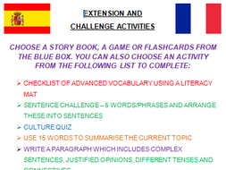 Extension Activities for stretch and challenge in MFL