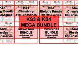 MEGABUNDLE KS3 and KS4 Science Glossaries x45 All Topics and Command Words