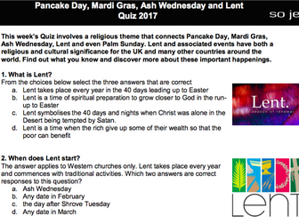 Pancake Day, Mardi Gras, Ash Wednesday and Lent Quiz