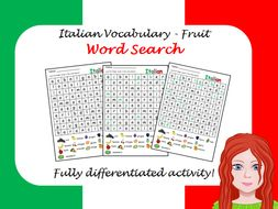 Italian fruit wordsearch - differentiated