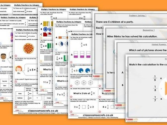 Year 6 Multiply Fractions by Integers Autumn Block 3 Step 10 Lesson Pack