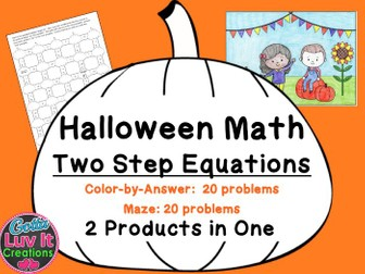 Solving Equations Halloween Fall Equations Maze  Color by Number