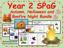 Autumn, Halloween and Bonfire Night themed SPaG (Year 2)