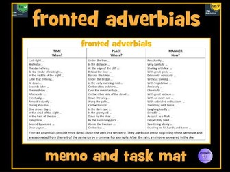 Fronted Adverbials Memo Mat