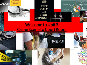 Criminology (NEW SPEC)Unit 3 Crime Scene to Court Room -An Intro to Unit 3 & Preparation Homework