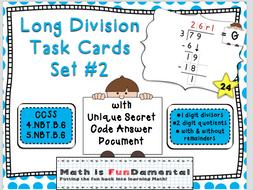 Long Division Task Card Set #2 - w/ unique answer code - 4.NBT.B.6