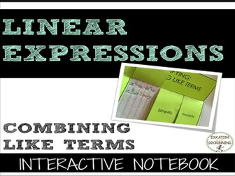 Simplifying Expressions by Combining Like Terms Interactive Notebook