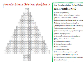 Computer Science Christmas Word Search - Clues to find words - KS3, GCSE, A Level
