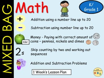Mixed Bag Math Addition/Subtraction to 20  Money, Skip Count by 2, Solve Math Problems (5 Lessons)