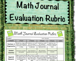 Math Journal Evaluation Rubric