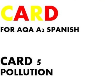 SPEAKING CARD 5 for AQA A2 SPANISH