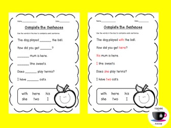 Complete the Sentences - Sentence Structure