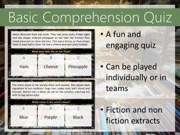 Comprehension quiz - SEN - EAL - Lower ability