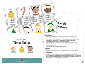 Christmas Card Game (Times Tables)