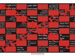 Present Continuous Tense Checker Board Game