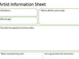 Artist Information Sheet