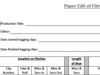 Paper Edit (Film & TV/Media Students)