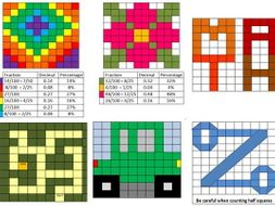 fraction decimal percentage mosaic by mabooth teaching resources. Black Bedroom Furniture Sets. Home Design Ideas