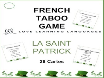 GCSE FRENCH: LA SAINT PATRICK French Taboo Game - Jeu de Tabou en Français
