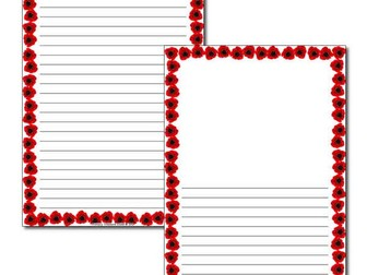Poppy themed wide lined page border