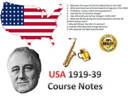 USA in the 1920s & 1930s Entire Course Notes - 46 pages