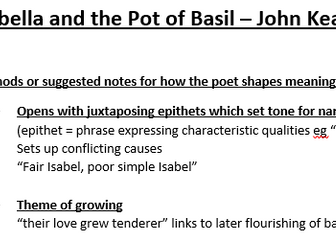 AQA Lit B Isabella and the Pot of Basil Method Notes