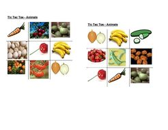 Fruits and Vegetables pictures Tic Tac Toe