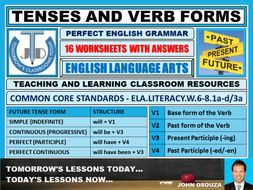 TENSES AND VERB FORMS - 16 WORKSHEETS WITH ANSWERS