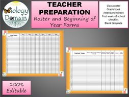 100% Editable class roster, 1st week of school, grade sheet, and attendance forms