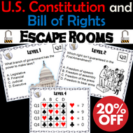 U.S. Constitution and Bill of Rights Escape Room: Social Studies Mini-Bundle