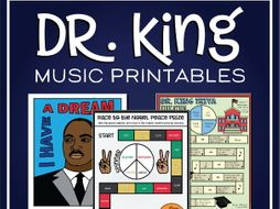Martin Luther King Day Music Coloring, Games, and MLK Worksheet Activities