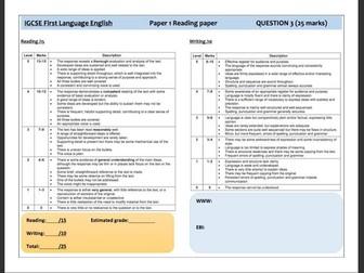 Cambridge IGCSE 0500 English Language Paper 1 - Marking Templates