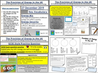 Resource Management: The Provision of Energy in the UK
