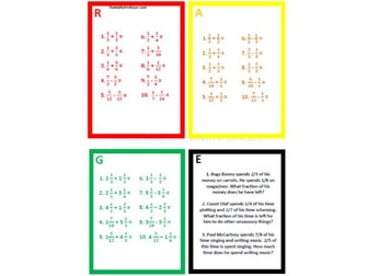 Differentiated (RAGE) - Adding and Subtracting fractions