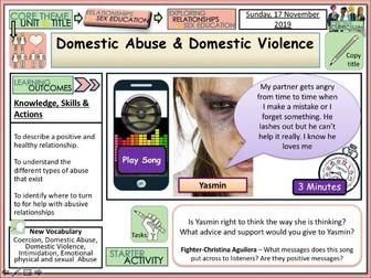 Domestic Abuse + Domestic Violence - PSHE