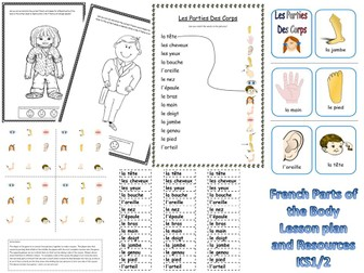 French Parts of the Body Lesson and Resources KS1/2