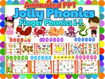 Jolly Phonics 1-7 Animated Powerpoint - BUNDLE of 155 slides
