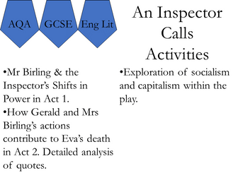 AQA English. Inspector Calls Activities