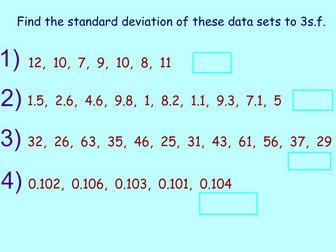 Averages and Standard Deviation