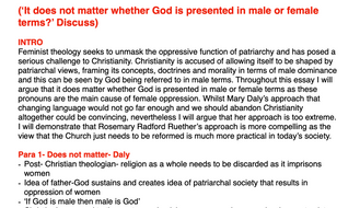 OCR RELIGIOUS STUDIES- Gender and Theology ESSAY PLANS