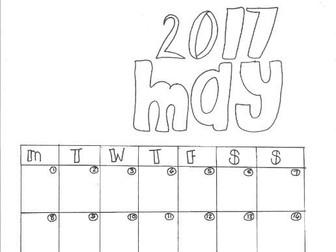 May Calendar Organiser and Colouring Sheet