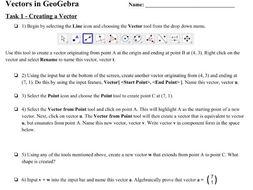 IB Math SL GeoGebra Vectors Activity