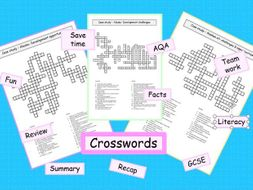 **AQA crosswords Alaskan oil opportunities & challenges GCSE geography revision ks4- 3x resources *
