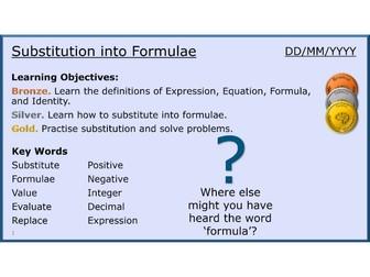 Algebra 12/31 Substitution into Formulae