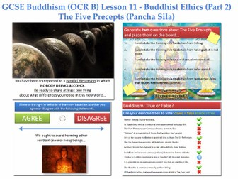 GCSE - Buddhism -Lesson 11  [Ethics, The Five Precepts, Pancha Sila, Moral Teachings] Full Lesson