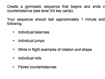 Gymnastics Worksheets