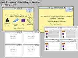 reasoning slides and cards year 3 geometry shape by